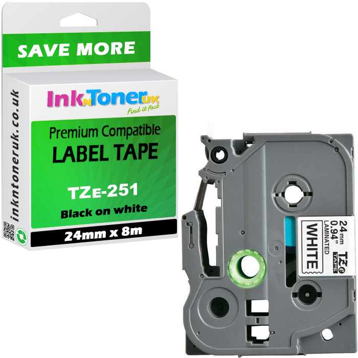 Premium Compatible Brother TZe-251 Black On White 24mm x 8m Laminated P-Touch Label Tape (TZE251)