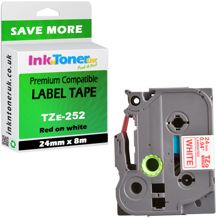 Premium Compatible Brother TZe-252 Red On White 24mm x 8m Laminated P-Touch Label Tape (TZe252)