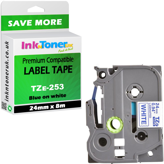 Premium Compatible Brother TZe-253 Blue On White 24mm x 8m Laminated P-Touch Label Tape (TZe-253)