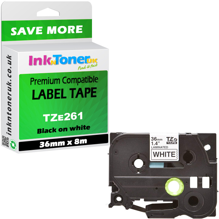 Premium Compatible Brother TZe-261 Black On White 36mm x 8m Laminated P-Touch Label Tape (TZE261)