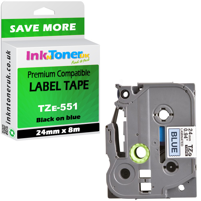 Premium Compatible Brother TZe-551 Black On Blue 24mm x 8m Laminated P-Touch Label Tape (TZe-551)