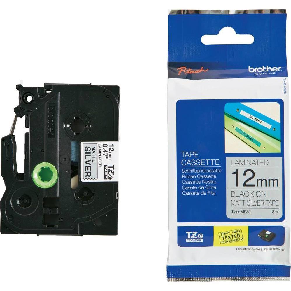 Original Brother TZe-M931 Black On Silver Metallic 12mm x 5m Laminated P-Touch Label Tape (TZEM931)