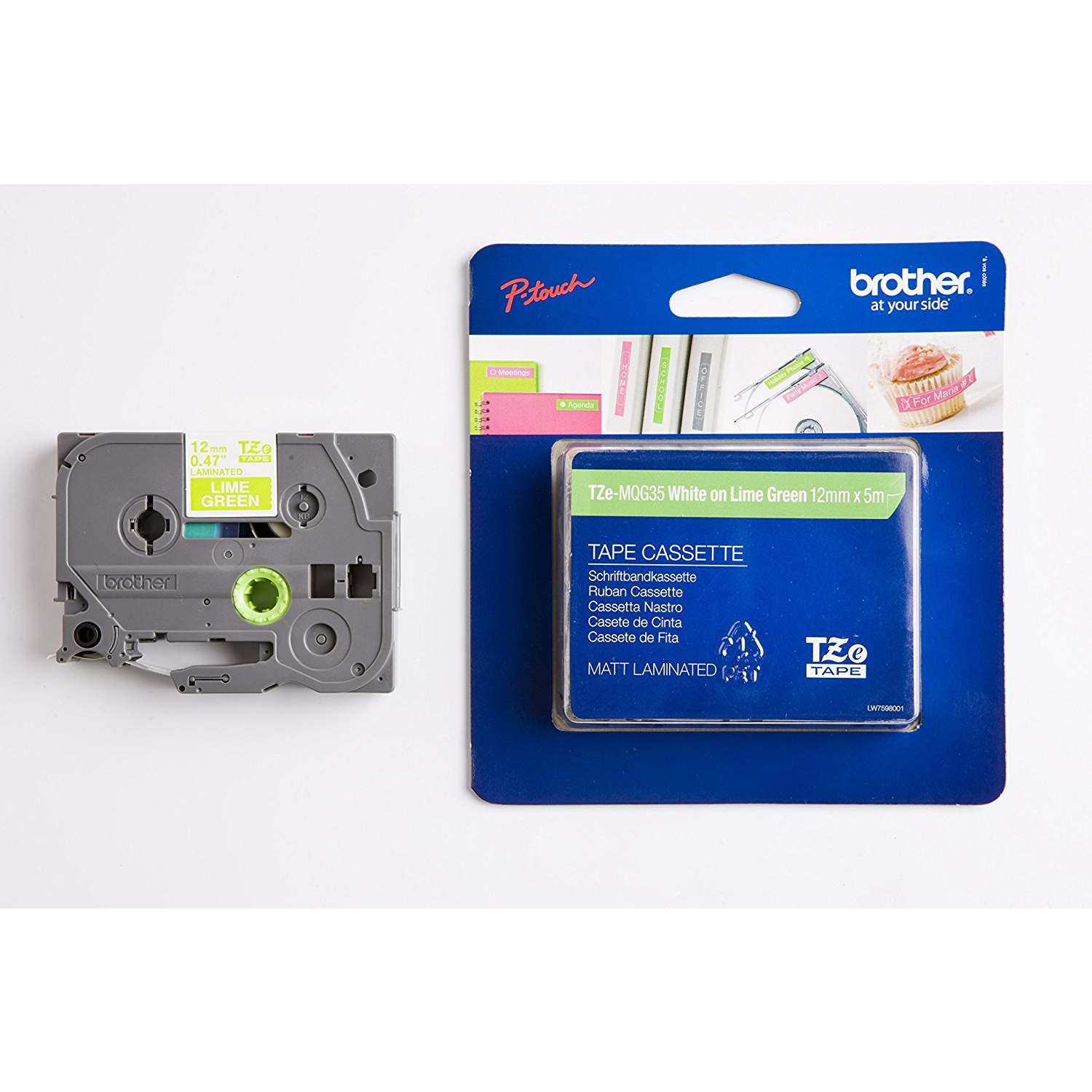 Original Brother TZe-MQG35 White On Matte Lime Green 12mm x 5m Laminated P-Touch Label Tape (TZEMQG35)