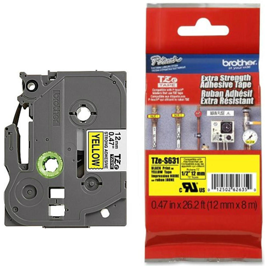Original Brother TZe-S631 Black On Yellow 12mm x 8m Strong Adhesive Laminated P-Touch Label Tape (TZES631)