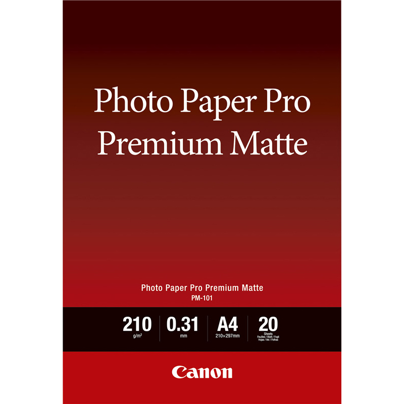 Original Canon PM-101 210gsm A4 Pro Premium Smooth Matte Photo Paper - 20 sheets (8657B005)