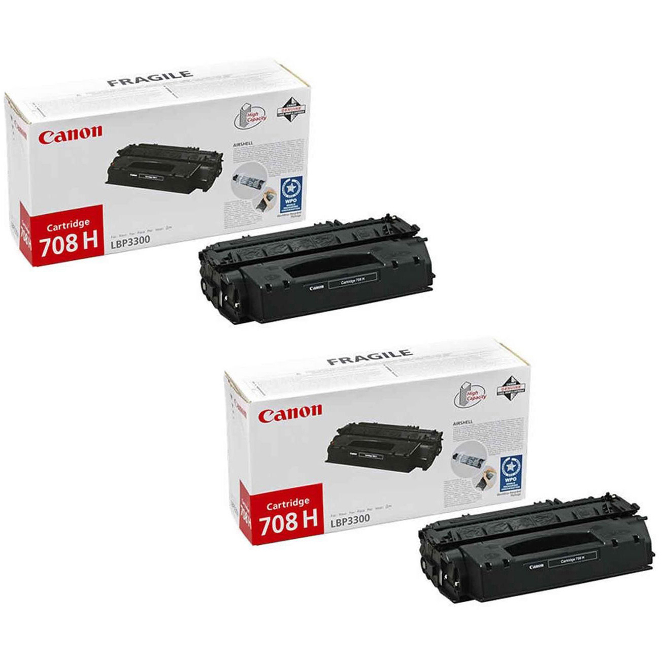 Original Canon 708H Black Twin Pack High Capacity Toner Cartridges (0917B002AA)