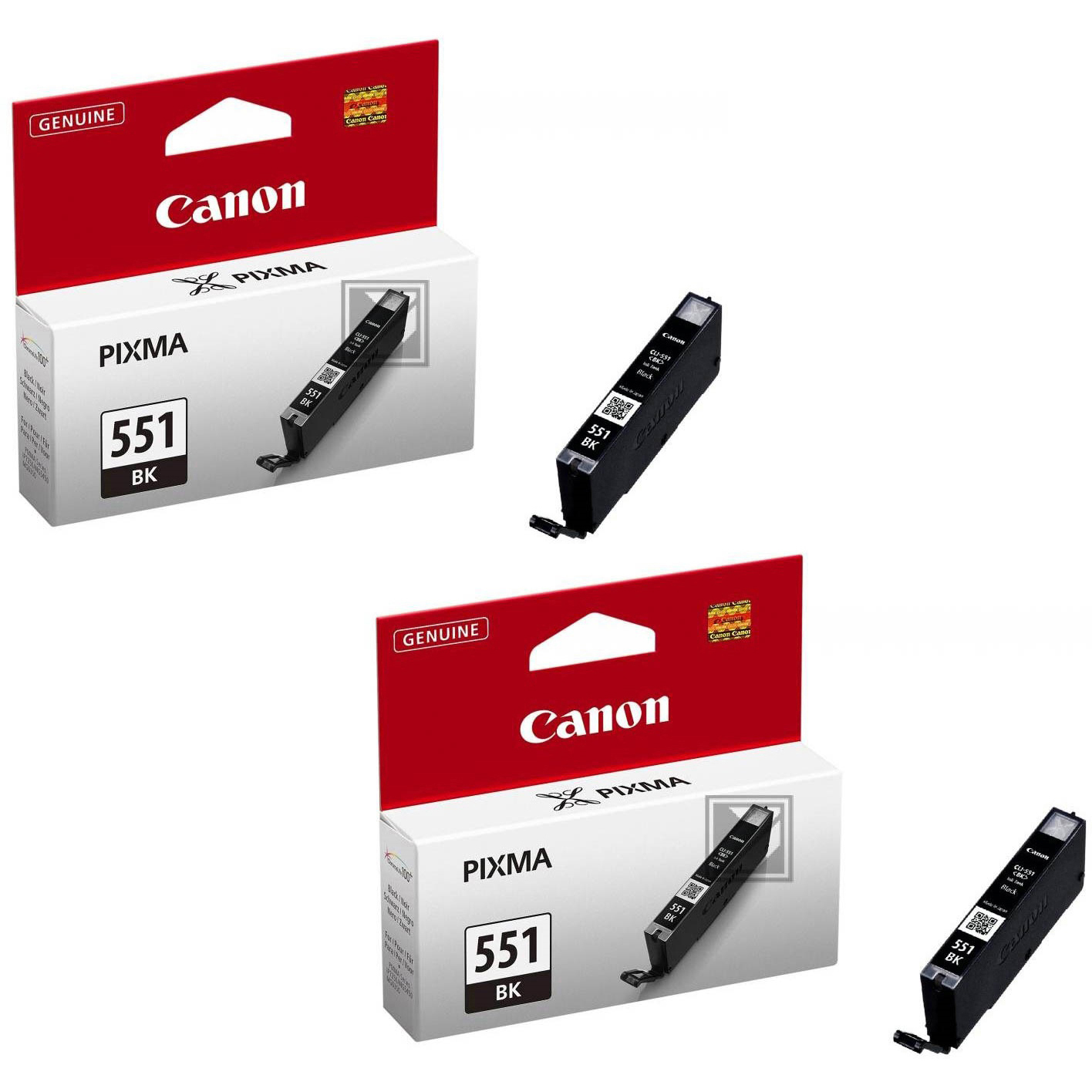 Original Canon CLI-551BK Black Twin Pack Ink Cartridges (6508B001)