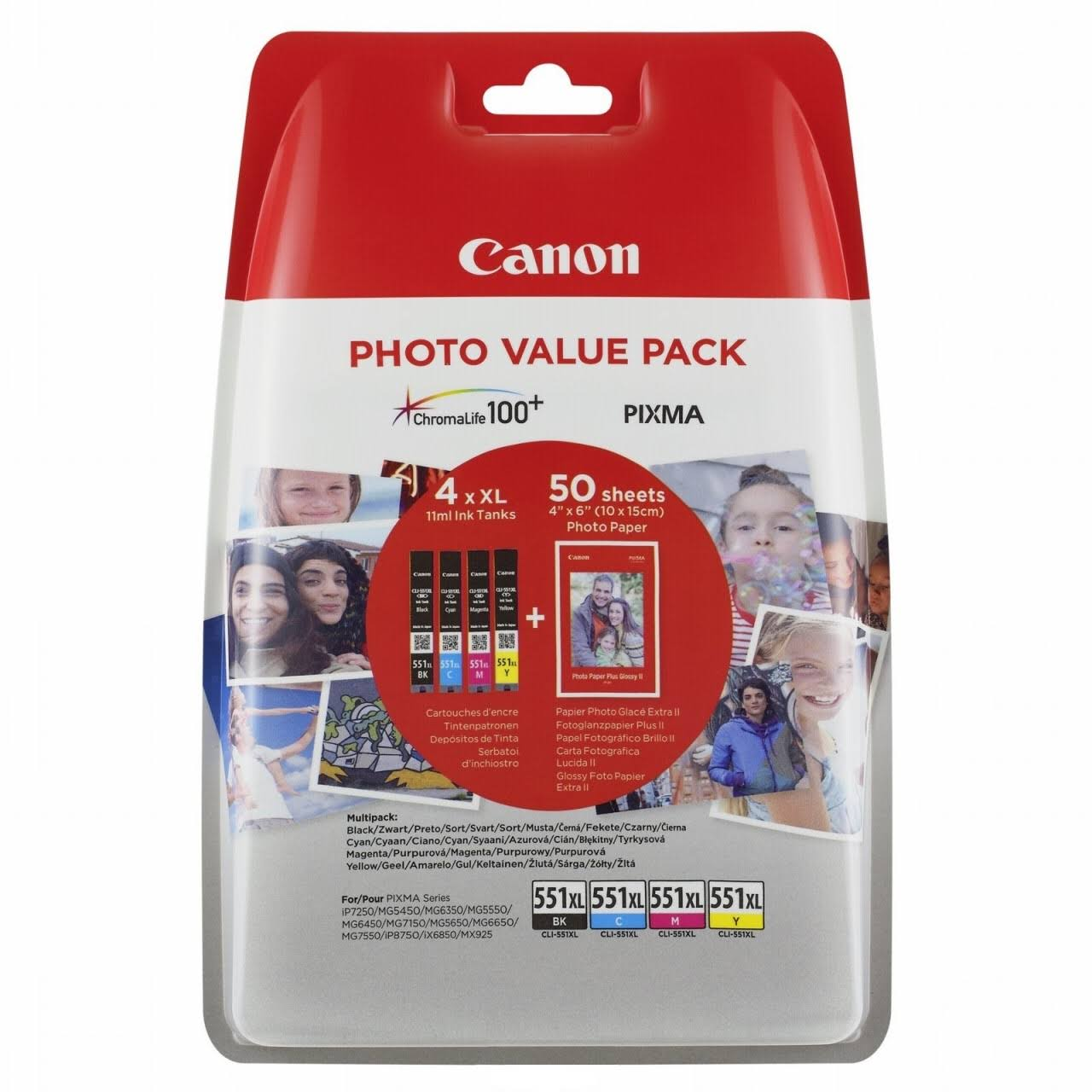 Original Canon CLI-551XL CMYK Multipack High Capacity Ink Cartridges & Paper (6443B006)