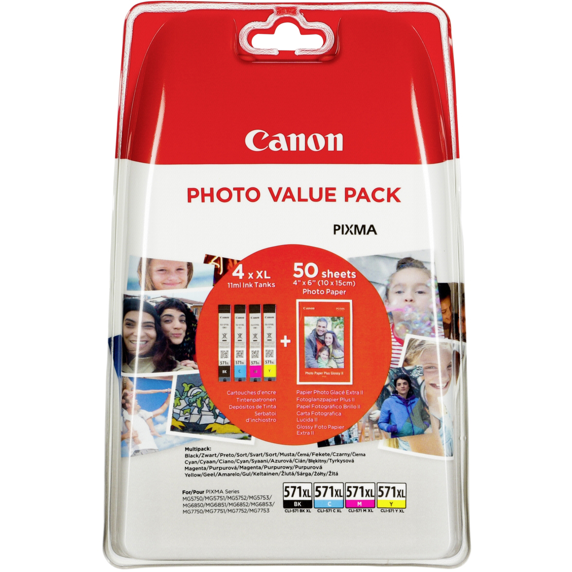 Original Canon CLI-571XL CMYK Multipack High Capacity Ink Cartridges & Paper (0332C005)