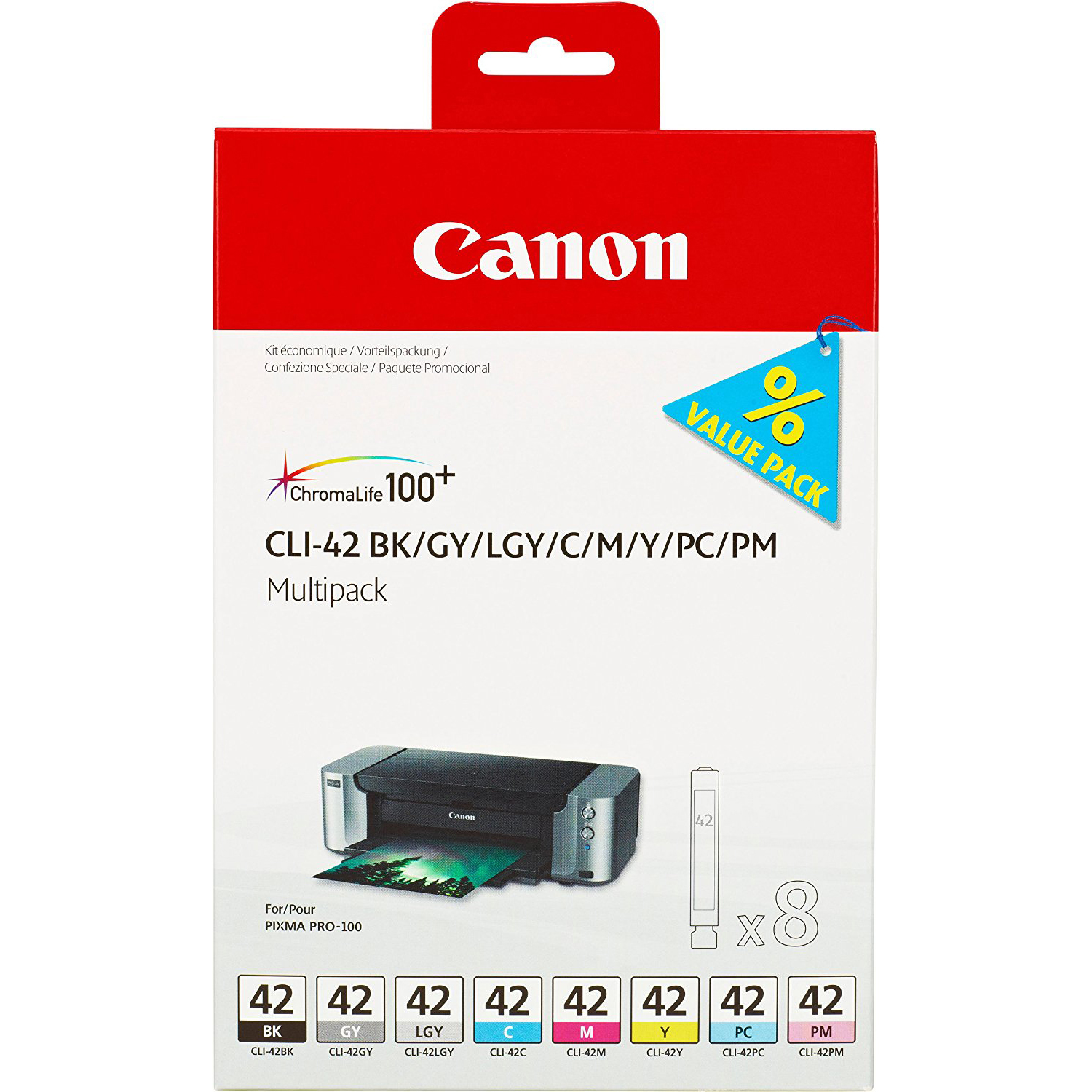 Original Canon CLI-42 C, M, Y, BK, PC, PM, GY, LGY Multipack Ink Cartridges (6384B010)