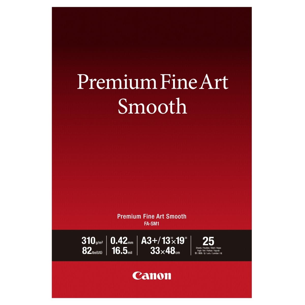Original Canon FA-SM1 310gsm Premium Fine Art Smooth A3+ Cotton Matte Photo Paper - 25 Sheets (1711C004)