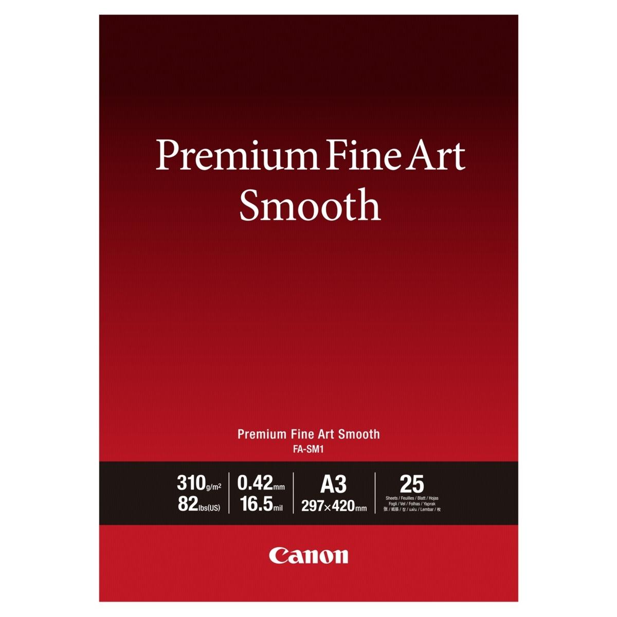 Original Canon FA-SM1 310gsm Premium Fine Art Smooth A3 Cotton Matte Photo Paper - 25 Sheets (1711C003)