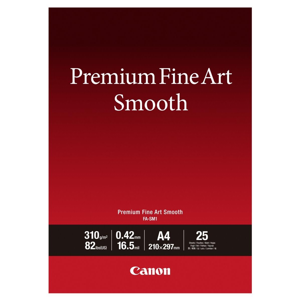 Original Canon FA-SM1 310gsm Premium Fine Art Smooth A4 Cotton Matte Photo Paper - 25 Sheets (1711C001)