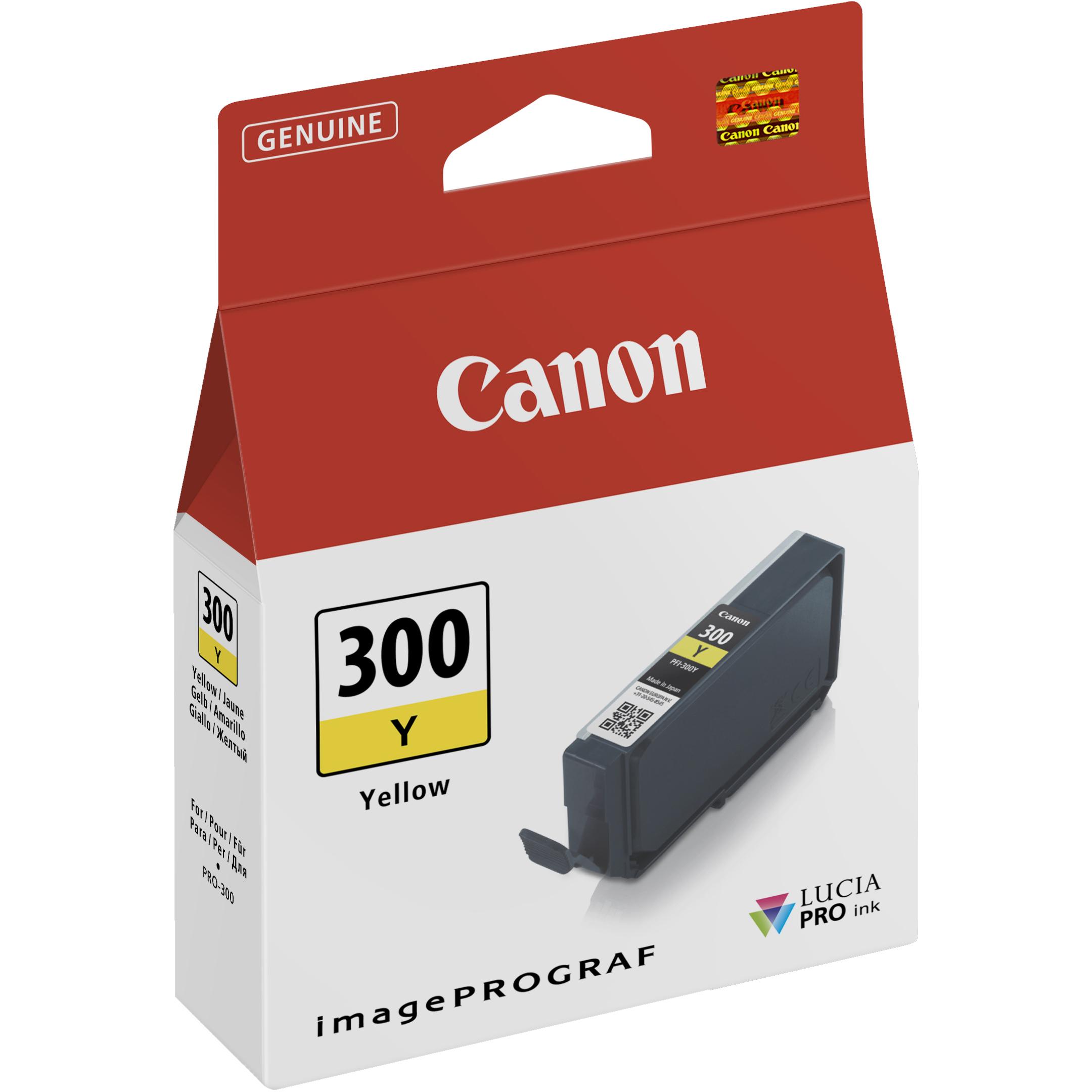 Original Canon PFI-300Y Yellow Ink Cartridge (4196C001)