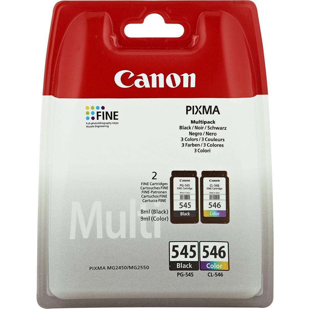 Original Canon PG-545 / CL-546 Black & Colour Combo Pack Ink Cartridges (8287B005)