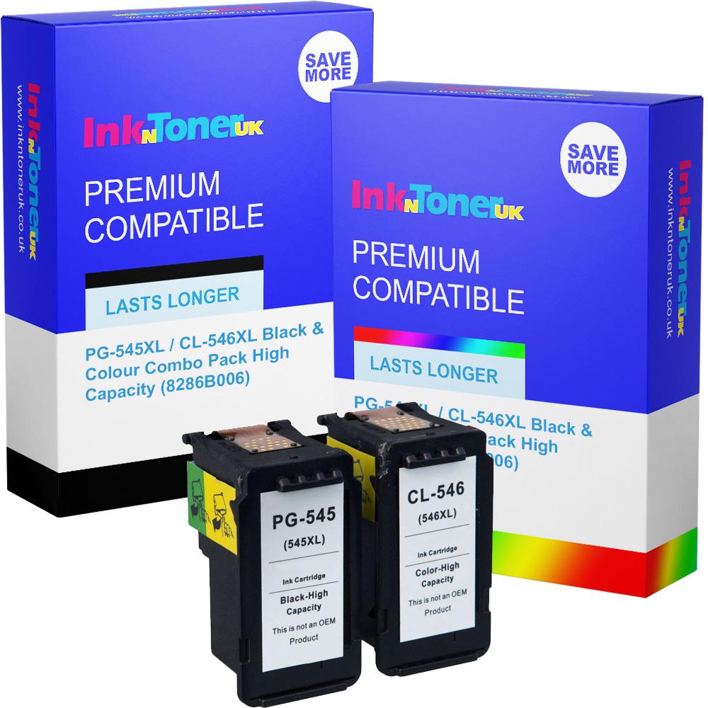 Premium Remanufactured Canon PG-545XL / CL-546XL Black & Colour Combo Pack High Capacity Ink Cartridges (8286B006)