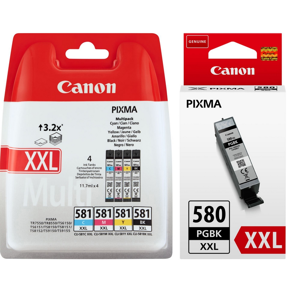 Original Canon PGI-580XXL / CLI-581XXL PGBK, C, M, Y, K Multipack Extra High Capacity Ink Cartridges (1970C001 / 1998C005)