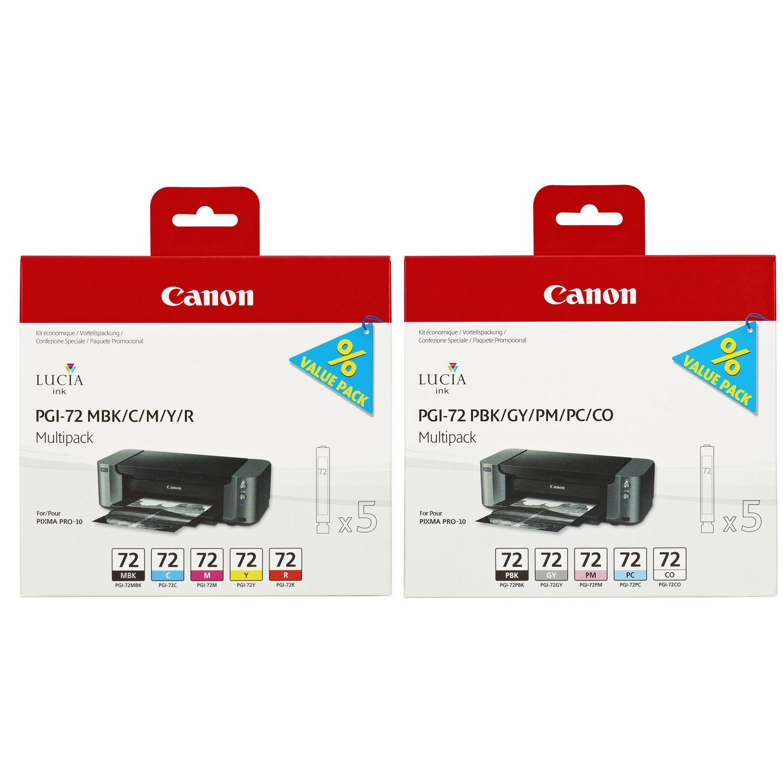 Original Canon PGI-72 Multipack Set Of 10 Ink Cartridges (6402B009 / 6403B007)