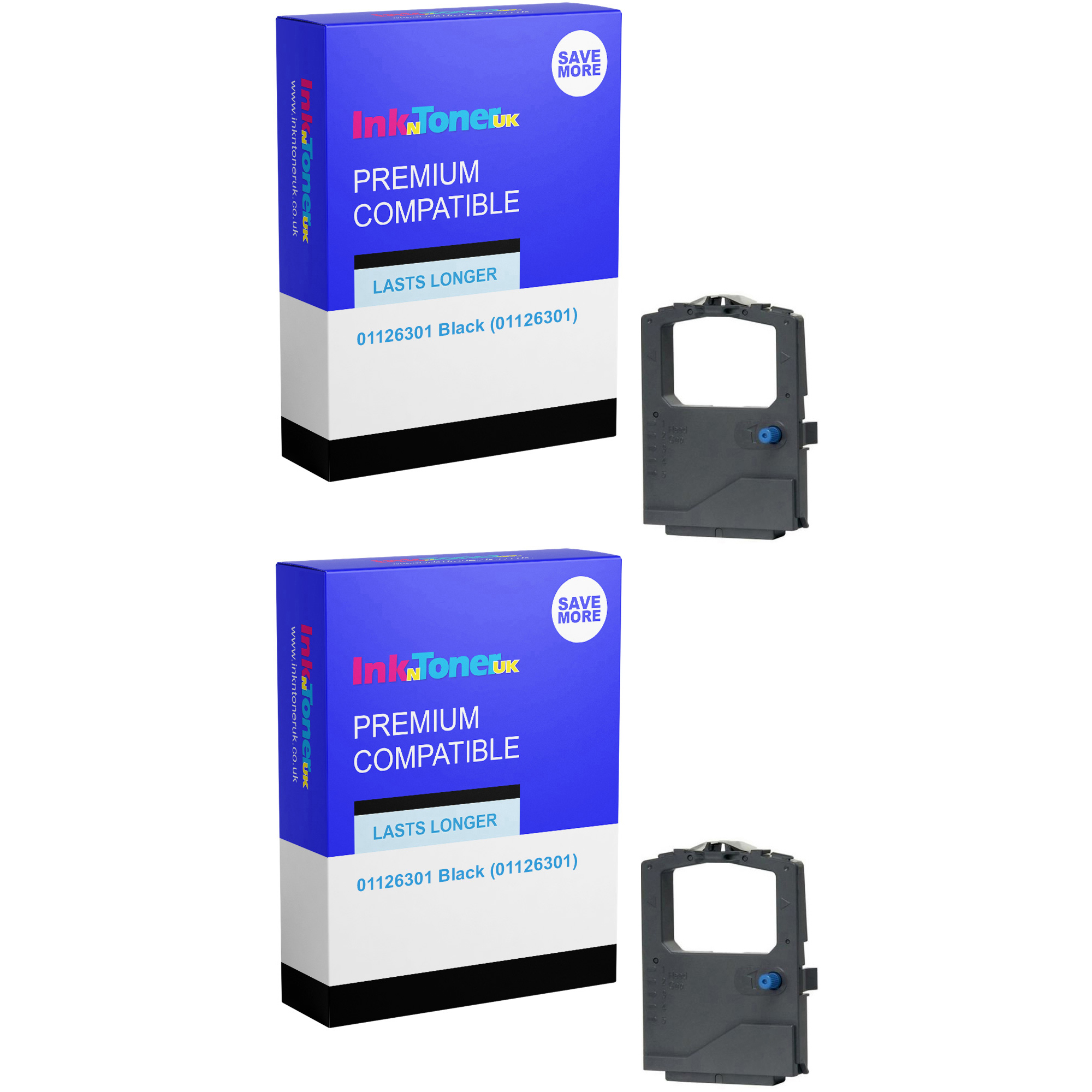 Premium Compatible Oki 01126301 Black Twin Pack Nylon Ink Ribbons (01126301)