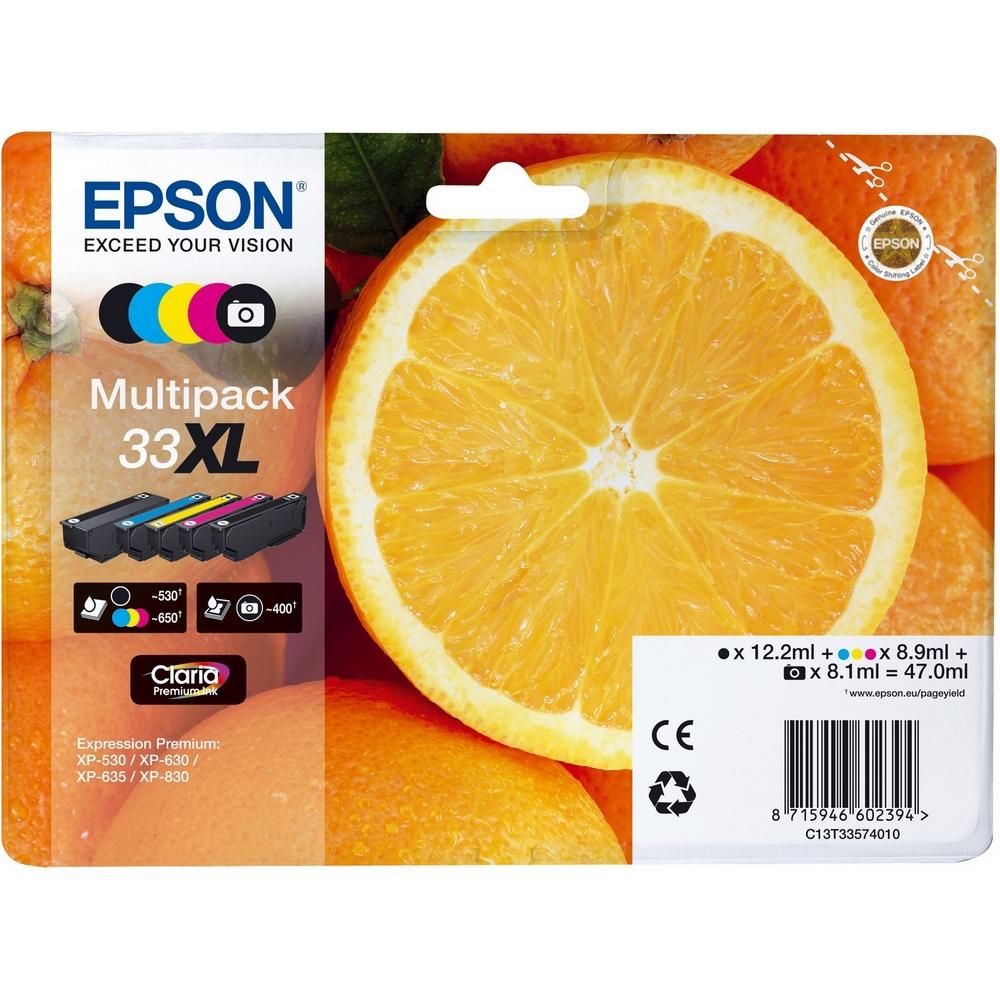 Original Epson 33XL C, M, Y, K, PBK Multipack High Capacity Ink Cartridges (C13T33574011)