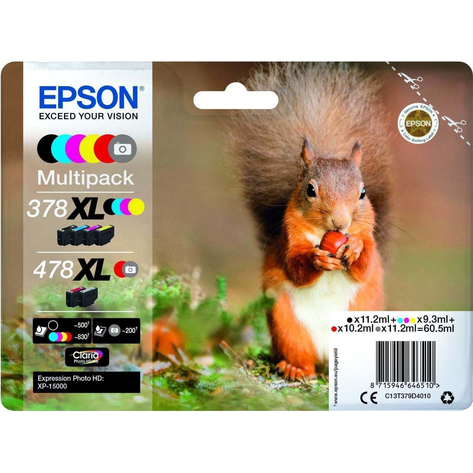 Original Epson 378XL / 478XL Multipack Set Of 6 High Capacity Ink Cartridges (C13T379D4010)