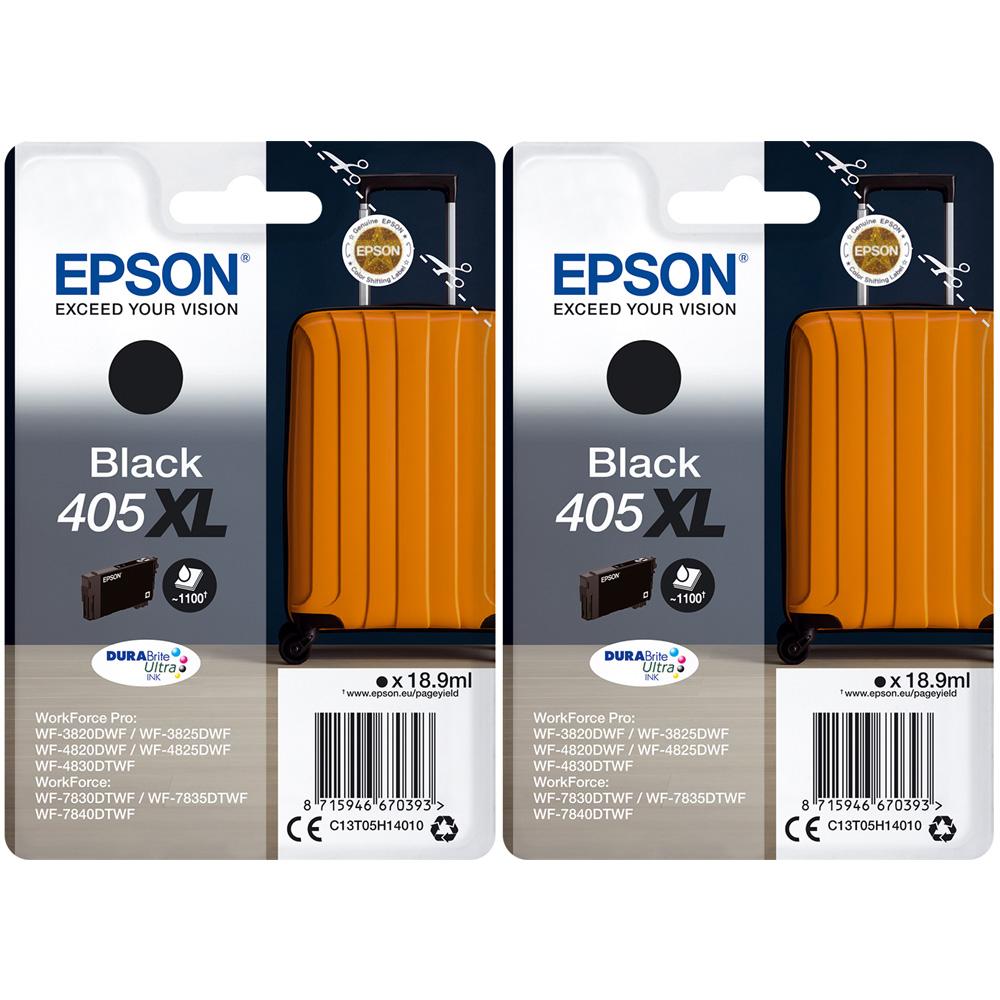 Original Epson 405XL Black Twin Pack High Capacity Ink Cartridges (C13T05H14010)