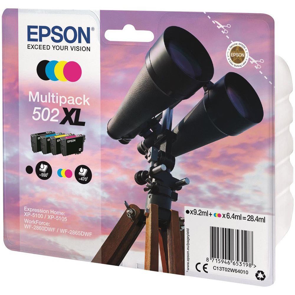 Original Epson 502XL CMYK Multipack High Capacity Ink Cartridges (C13T02W64010)
