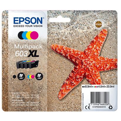 Original Epson 603XL CMYK Multipack High Capacity Ink Cartridges (C13T03A64010)