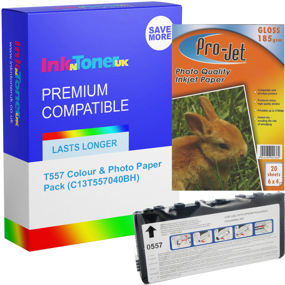 Premium Compatible Epson T557 Colour Ink Cartridge & Photo Paper Pack (C13T557040BH)