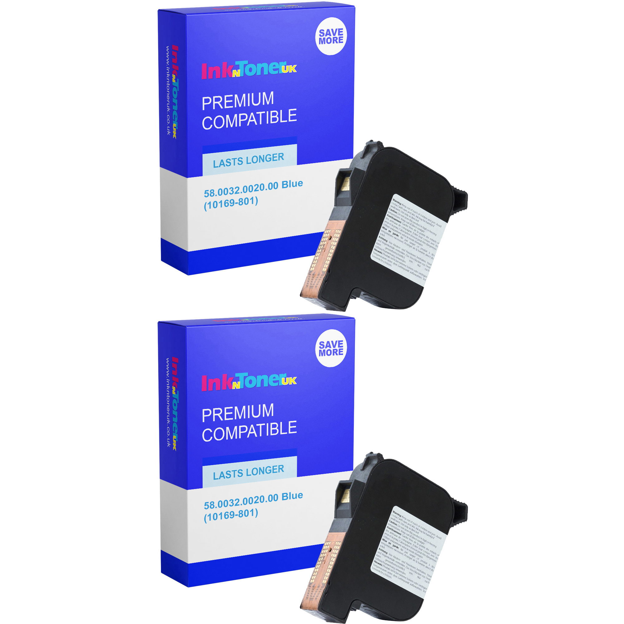 Premium Compatible Francotyp Postalia 58.0032.0020.00 Blue Twin Pack Franking Ink Cartridges (10169-801)