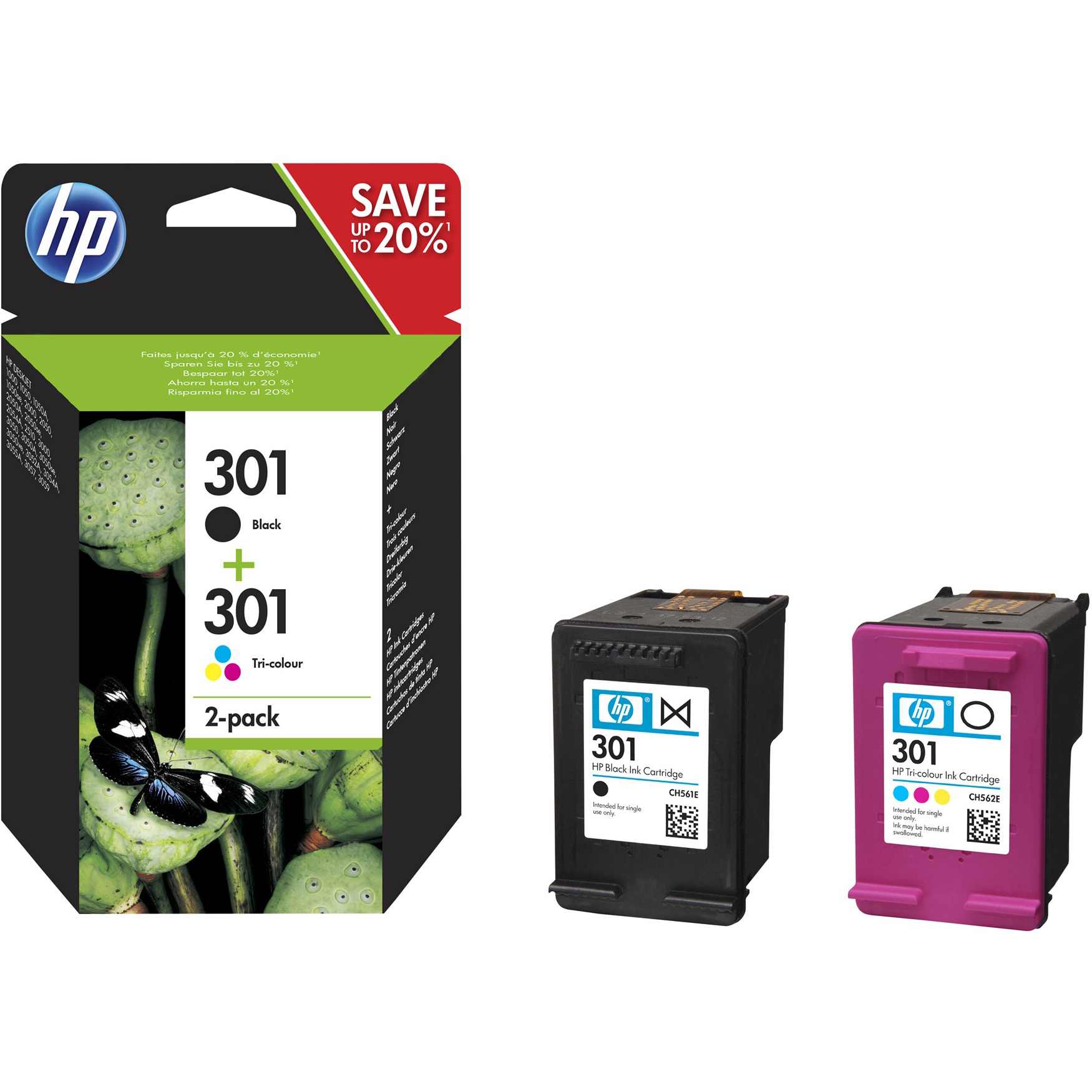 Original HP 301 Black & Colour Combo Pack Ink Cartridges (N9J72AE)