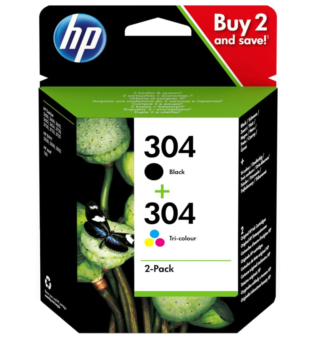 Original HP 304 Black & Colour Combo Pack Ink Cartridges (3JB05AE)