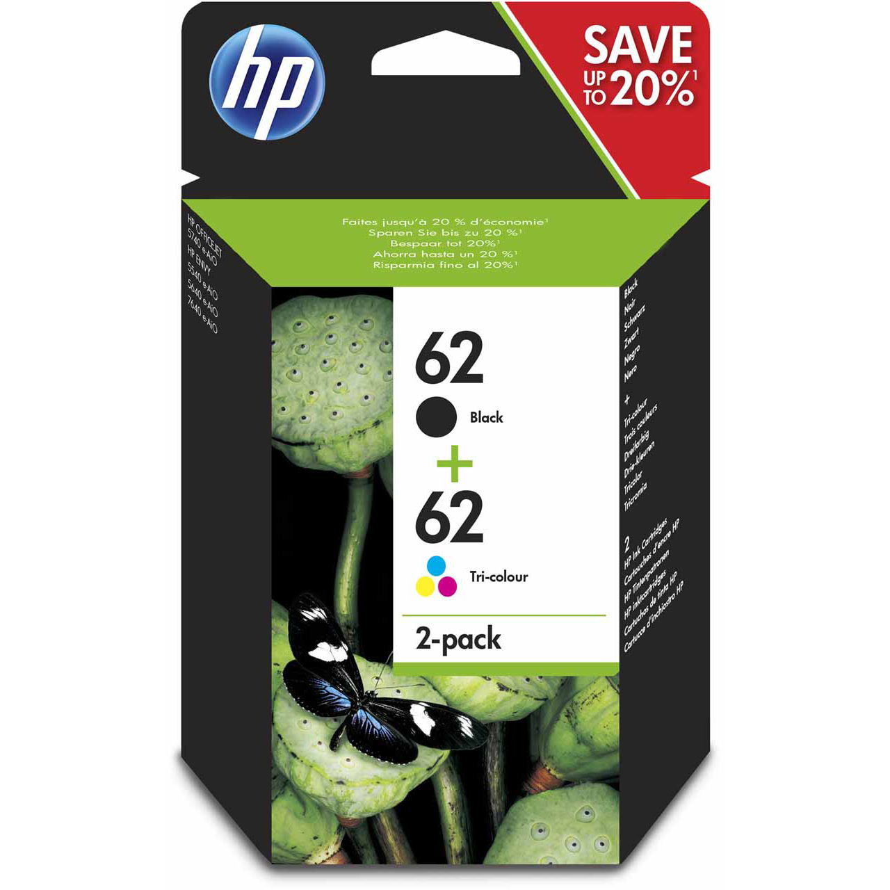 Original HP 62 Black & Colour Combo Pack Ink Cartridges (N9J71AE)