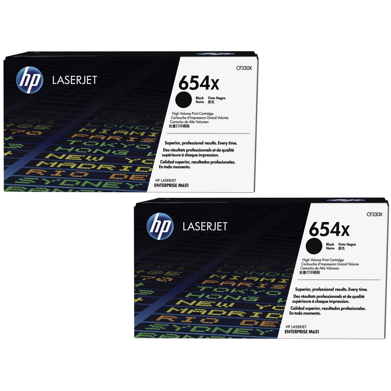 Original HP 654X Black Twin Pack High Capacity Toner Cartridges (CF330X)