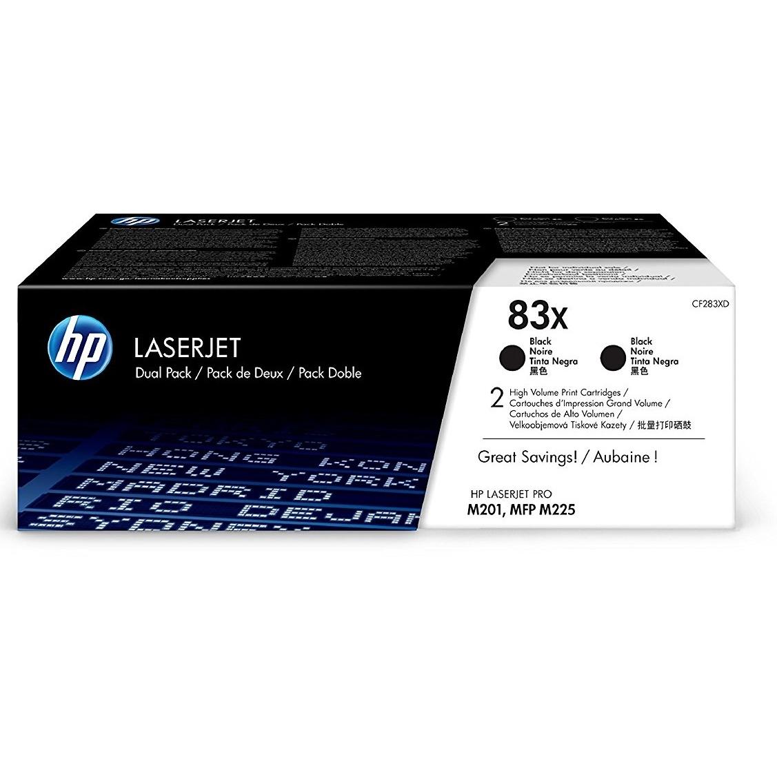 Original HP 83X Black Twin Pack High Capacity Toner Cartridges (CF283XD)