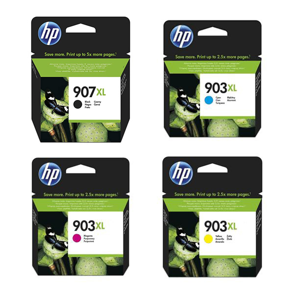 Original HP 907XL / 903XL CMYK Multipack Ink Cartridges & Paper (T6M19AE / 1CC20AE)