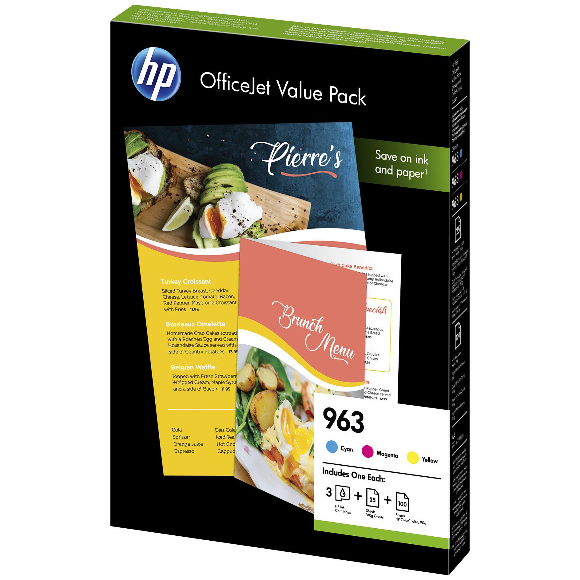 Original HP 963 CMY Pack Ink Cartridges & A4 Paper (6JR42AE)