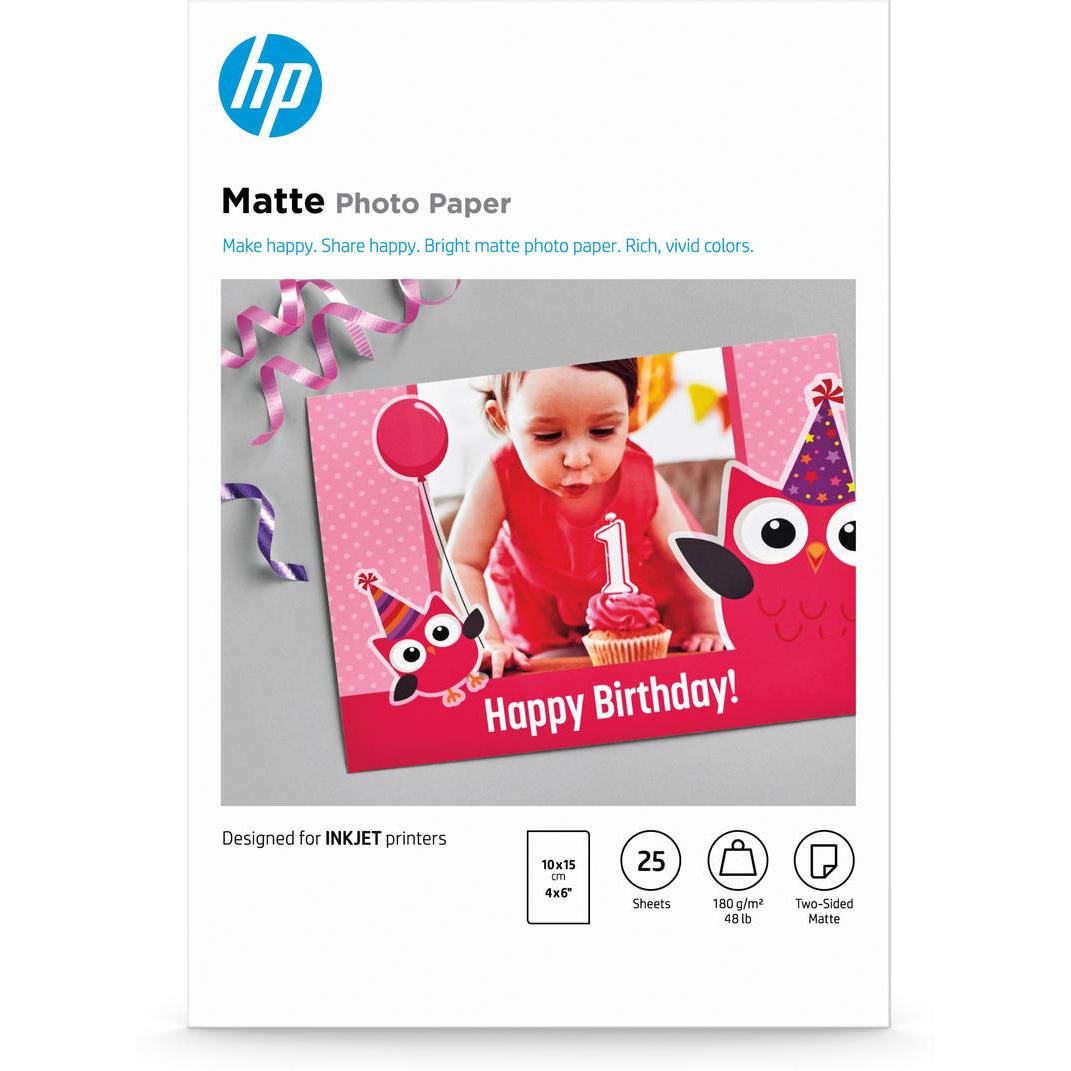 Original HP Matte Fsc Photo Paper 4X6 25 Sheet (7HF70A)