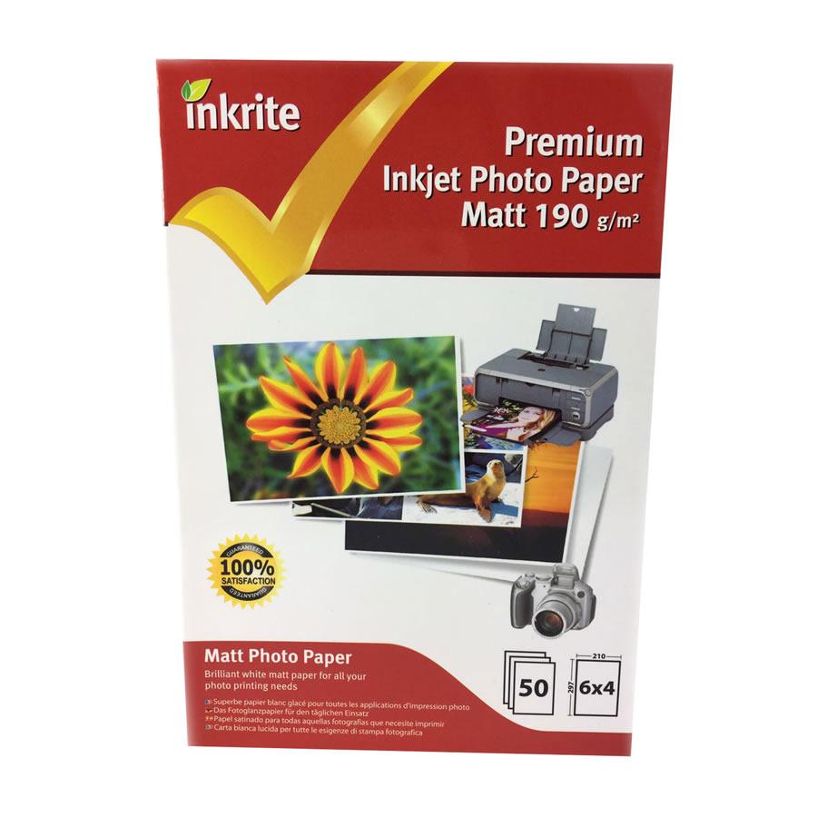 Original Inkrite PhotoPlus Professional Paper Matt 190gsm A6 6x4 - 50 sheets