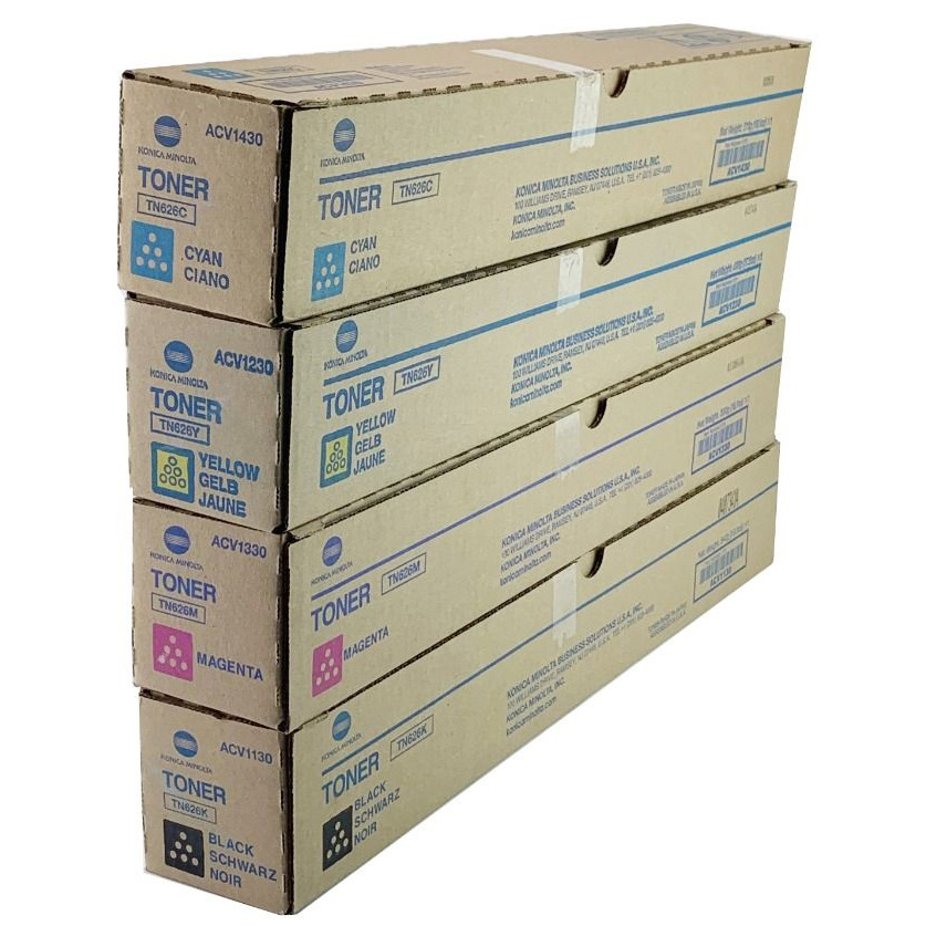 Original Konica Minolta TN-626 CMYK Multipack Toner Cartridges (ACV1150/ ACV1450/ ACV1350/ ACV1250)