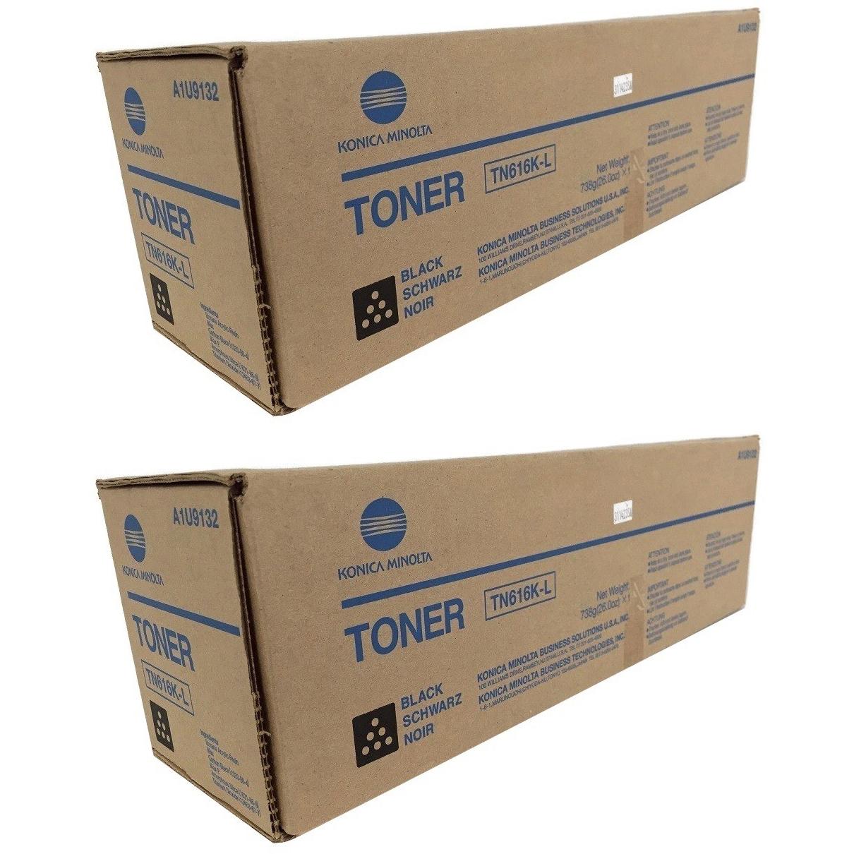 Original Konica Minolta TN616K Black Twin Pack Toner Cartridges (A1U9152)
