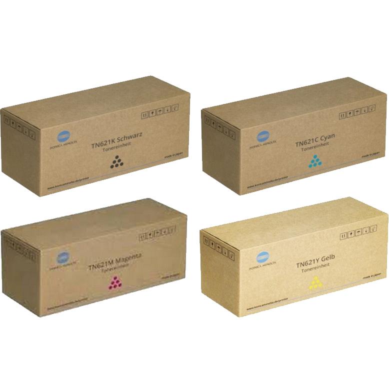 Original Konica Minolta TN621 CMYK Multipack Toner Cartridges (A3VX152/ A3VX452/ A3VX352/ A3VX252)