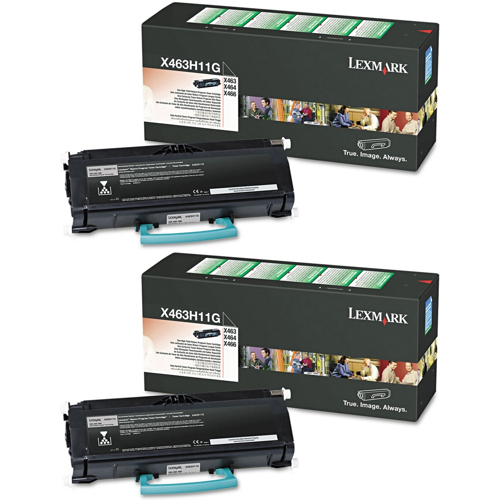 Original Lexmark X463H11G Black Twin Pack High Capacity Toner Cartridges (X463H11G)