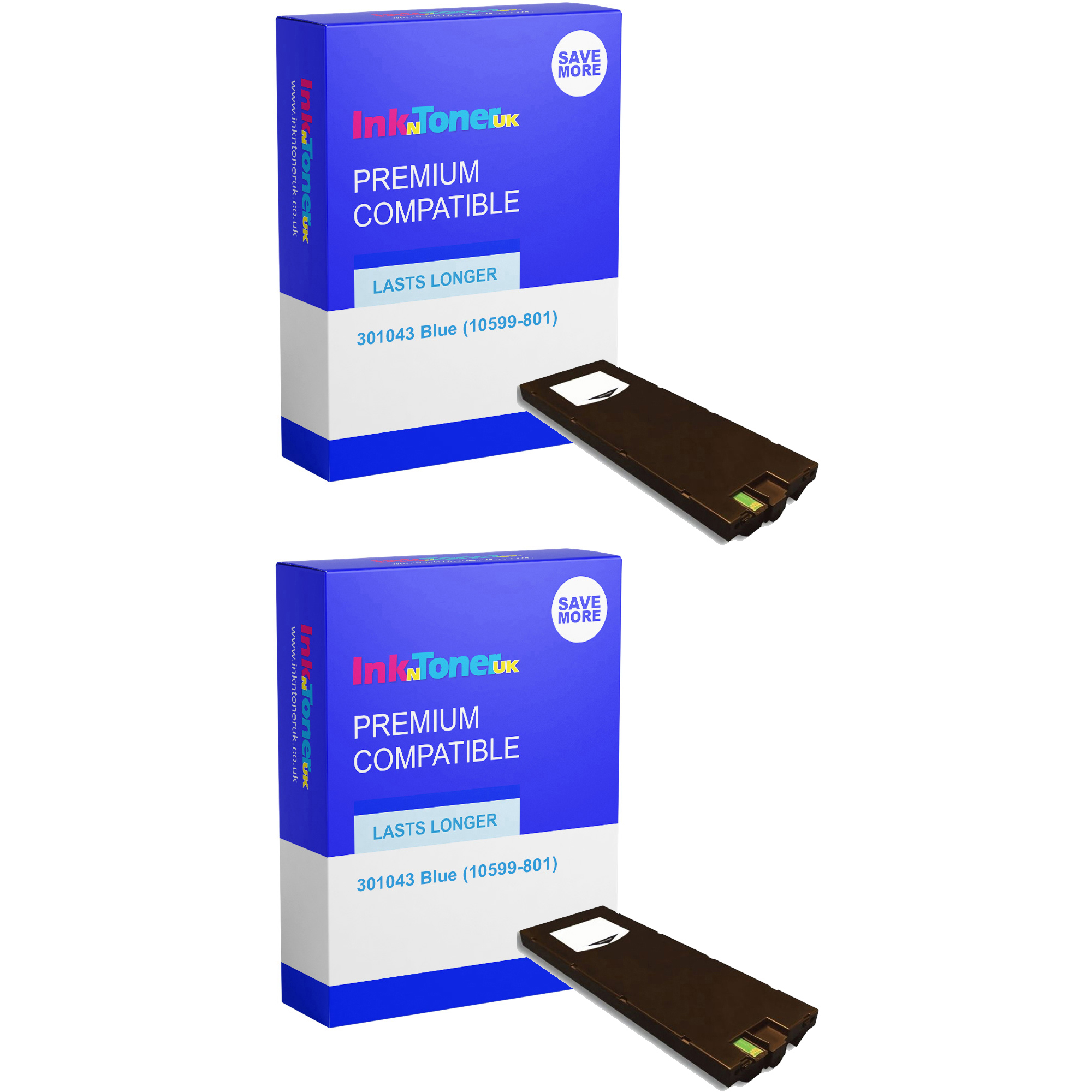 Premium Compatible Neopost 301043 Blue Twin Pack Franking Ink Cartridges (10599-801)