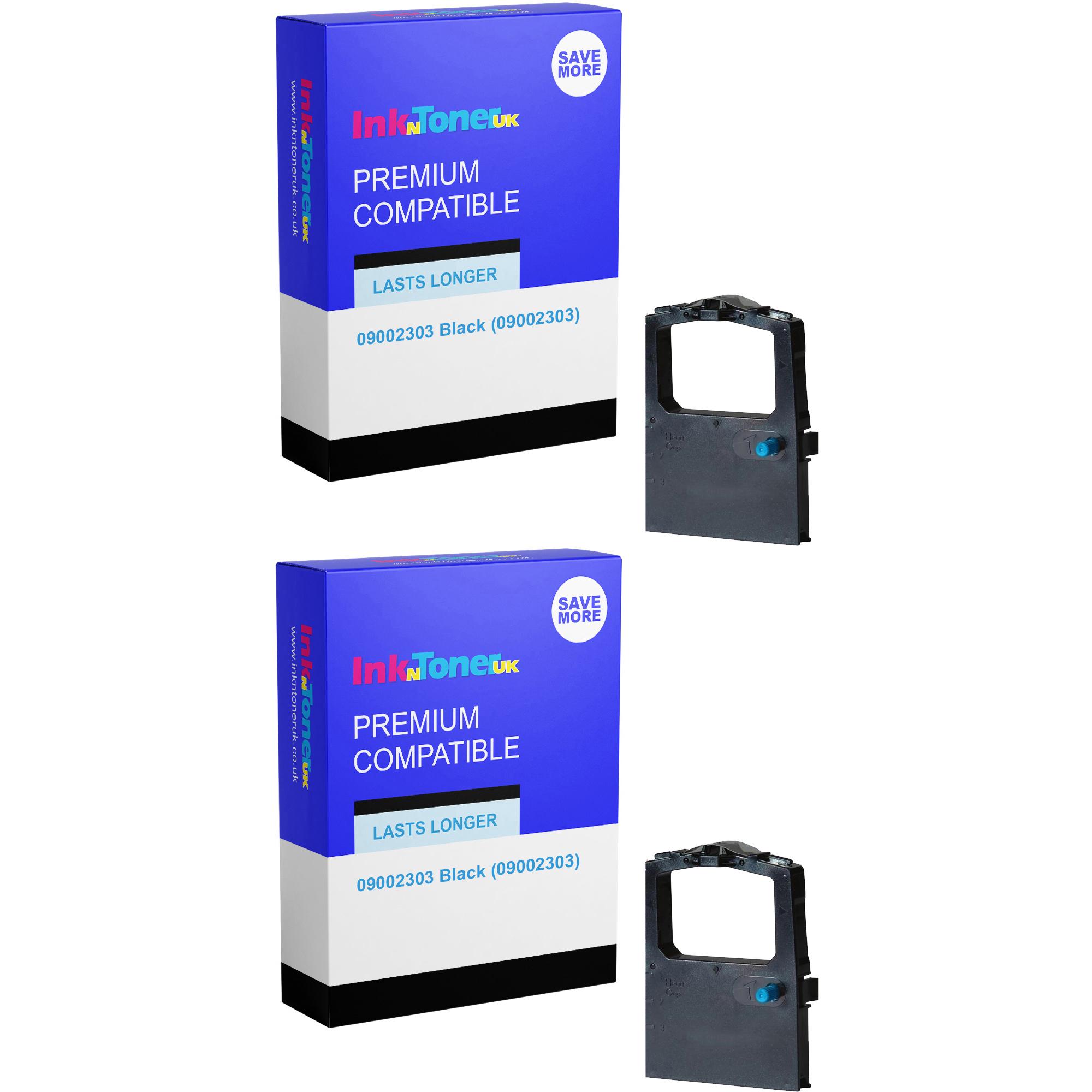Premium Compatible OKI 09002303 Black Twin Pack Fabric Ink Ribbons (09002303)