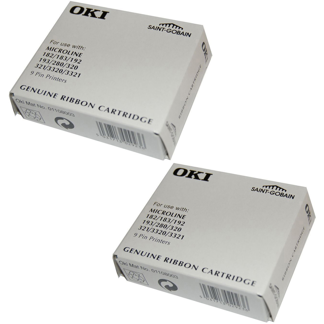 Original OKI 09002303 Black Twin Pack Fabric Ink Ribbons (09002303)