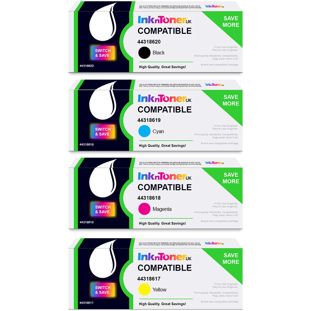 Value Compatible OKI 443186 CMYK Multipack Toner Cartridges (44318620/ 44318619/ 44318618/ 44318617)