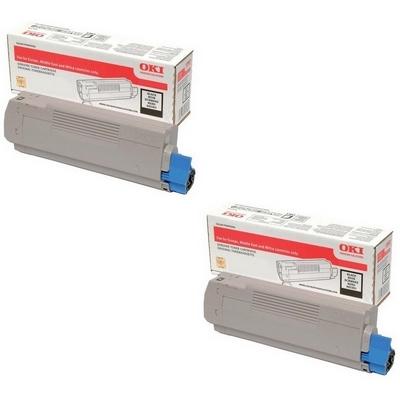 Original OKI 46471104 Black Twin Pack Toner Cartridges (46471104)