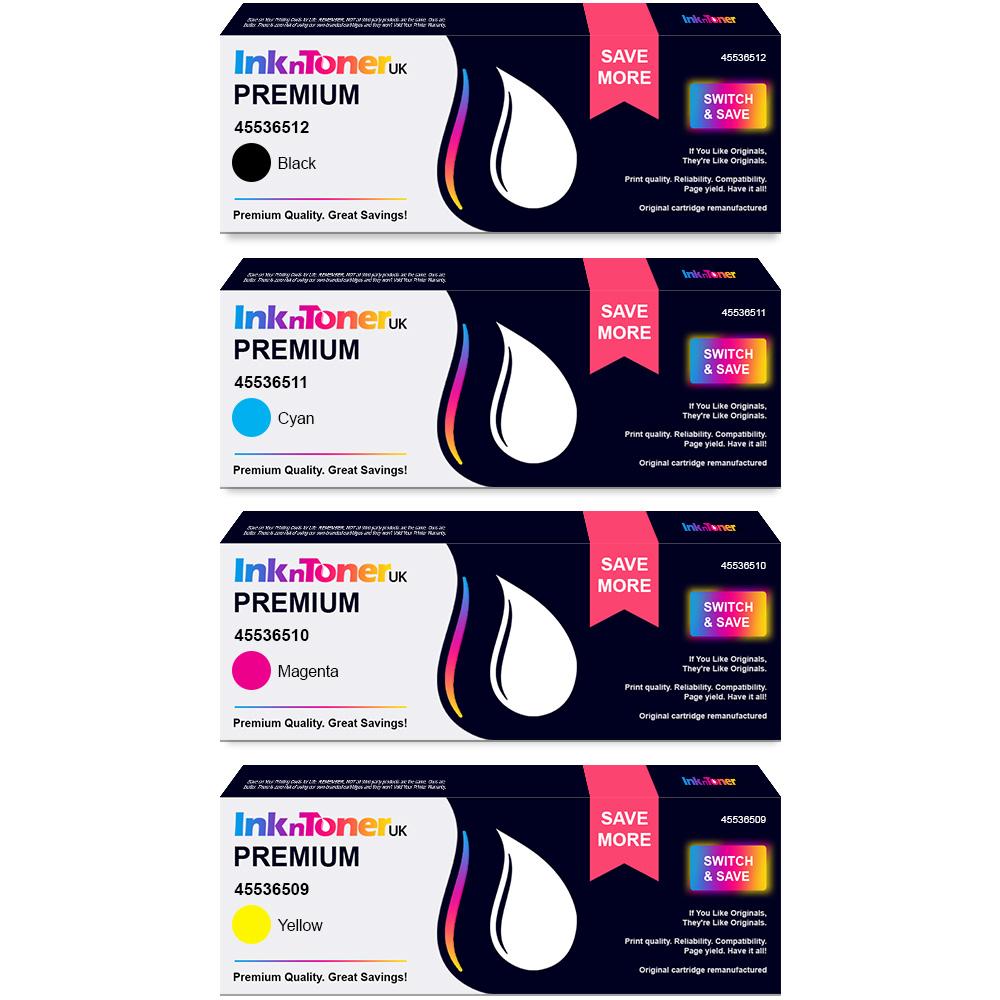 Premium Remanufactured OKI 455365 CMYK Multipack Toner Cartridges (45536512/ 45536511/ 45536510/ 45536509)