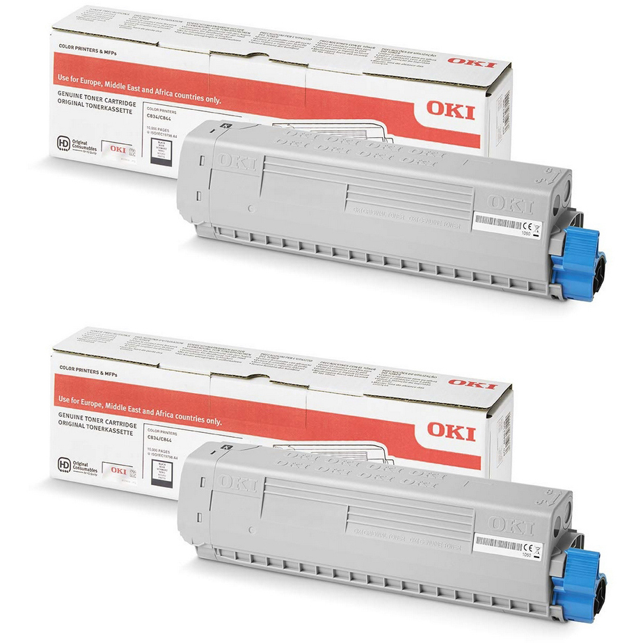Original Oki 46861308 Black Twin Pack High Capacity Toner Cartridges (46861308)